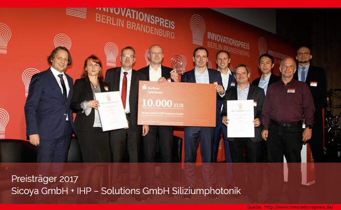 Adlershofer Sicoya mit dem Innovationspreis Berlin Brandenburg 2017 ausgezeichnet