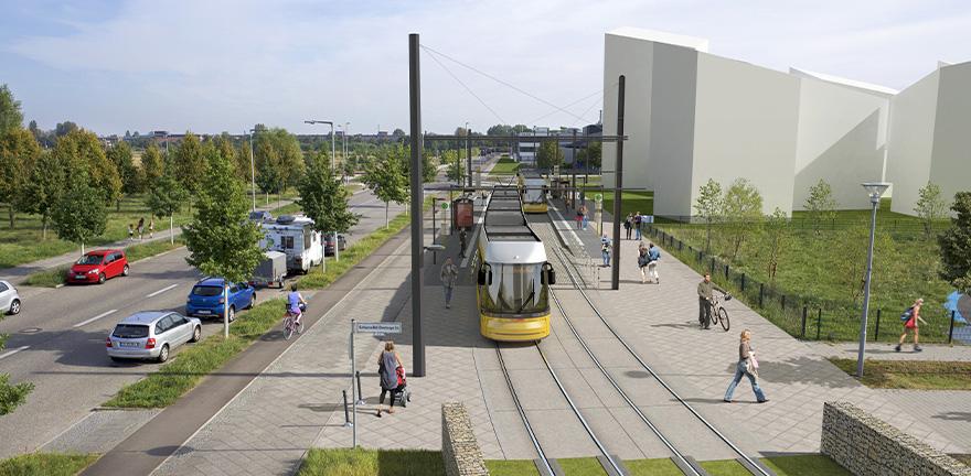 Visualisierung neue Tramstrecke © BVG