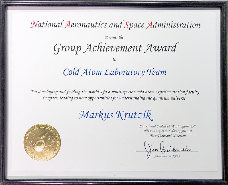 Urkunde: NASA Group Achievement Award für Markus Krutzik © FBH