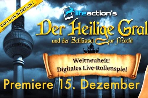 """Weltpremiere des ersten digitalen Live-Game-Events """"Der Heilige Gral und der Schlüssel zur Macht"""""""