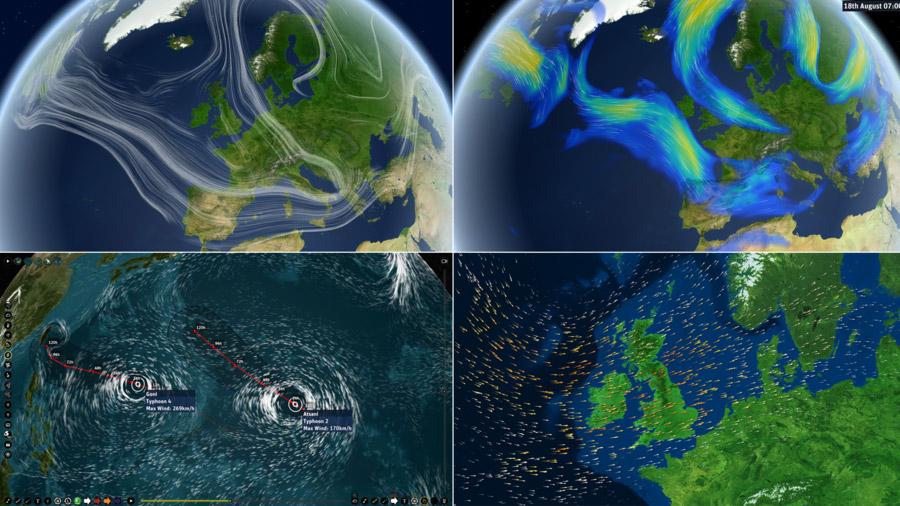 Visualisierung von Jetstreams, Zugbahn von Taifunen und Bewegung von Luftmassen. Bild: MeteoGroup