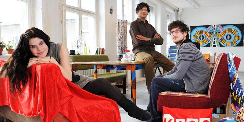 Künstler mit vielen Ideen: Juliana da Costa José, Nic Daniel und Alexander Leggin (v. l . n. r.), Bild: Adlershof Journal