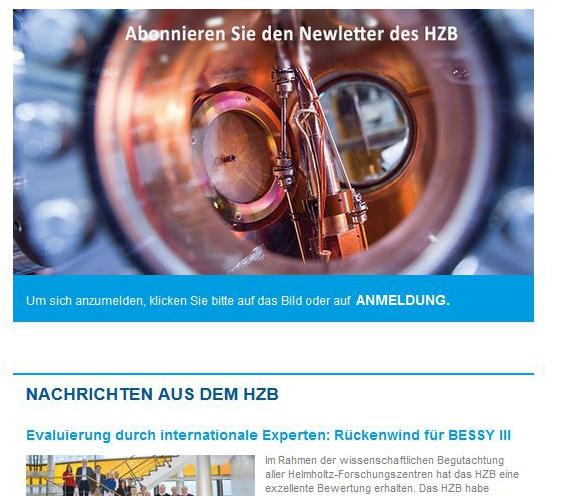 HZB Newsletter ab jetzt auch auf Englisch!