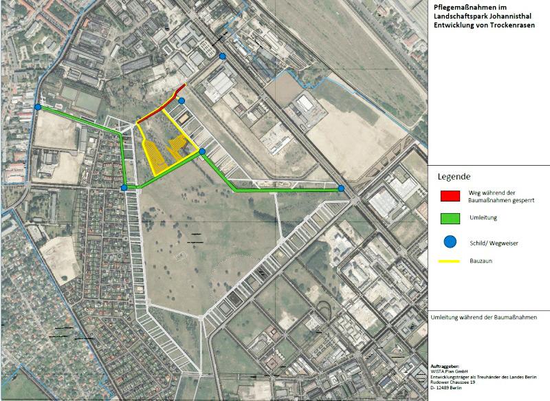 Karte: Umleitung Baustellenumschließung im Landschaftspark Johannisthal. Bild: BA Treptow-Köpenick